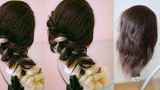 Диагональная коса с канекалоном  Причёска на 1 сентября  Причёска на среднюю длину