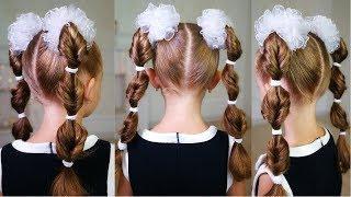 Прическа на 1 сентября для первоклашек с бантами! Cute hairstyle for school!