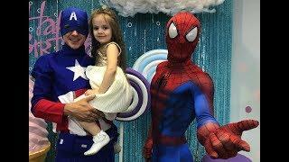 VLOG. СУПЕР ГЕРОИ. Капитан Америка и Человек Паук. Детский Праздник