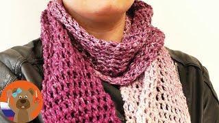 Летний шарф из столбиков с накидом | Эффект омбре | DIY вязание крючком
