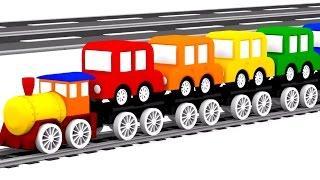 3D музыкальный мультфильм 4 машинки. Детские песенки - Песенки про машинки! Учим цвета Радуги.