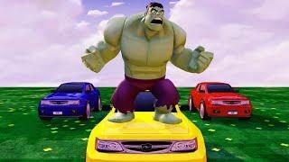 Мультики про Машинки Супергерой Халк Цветные Машины и Грузовик Детские Песенки Мультики для Детей
