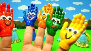 Пальчиковые краски Учим цвета Развивающее видео Для детей Поем песню Семья пальчиков Красим ручки #R