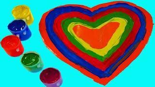 Сборник 10 минут Учим цвета с Песенкой Про цвета Учимся рисовать Гуашью сердечки Песня про пальчики