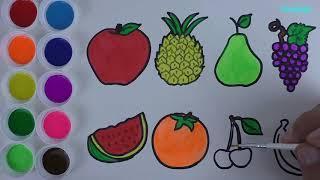 Детские песни фрукты Рисовать И Цветные Фрукты - Учиться Цветам - Учиться Цветам - Детские