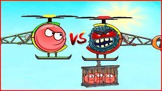 ШАР СРАЖАЕТСЯ НА ВЕРТОЛЕТАХ ПРОТИВ КВАДРАТА в  игре красный шарик  для детей про New Red Ball 4