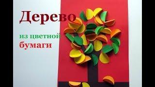 Осеннее дерево. Оъемная аппликация из цветной бумаги и картона для детей.