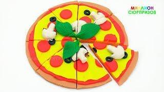 Учим цвета с Пластилином Play Doh   Лепим Пиццу из Плей Дох для детей   Еда из Пластилина Плей До