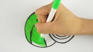 Как рисовать Арбуз раскраски Страницы Фрукты - Детские песни