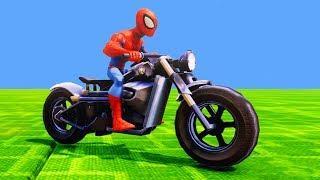 Мультики про Машинки Человек Паук Гонки на Мотоцикле Приключения Детские Песенки Мультики для детей