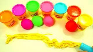 Учим цвета для малышей Веселая Радуга из пластилина Плей до Развивающее видео Шприц для
