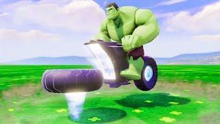 Мультики про Машинки Супергерой Халк и Летающий Мотоцикл Гонки Детские Песенки Мультики для детей