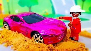 МУЛЬТИКИ МАШИНКИ для детей. Играем и делаем цветной Кинетический песок. Мультик с Игрушками